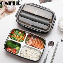 ONEUP Tragbare Fach Isolierung Lunchbox Edelstahl 304 Japanischen Büro Mitarbeiter Getrennt Mikrowelle Heizung Bento box