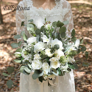 Свадебный букет eillyroasia, белый и зеленый букет невесты, искусственные цветы в стиле бохо, свадебные аксессуары
