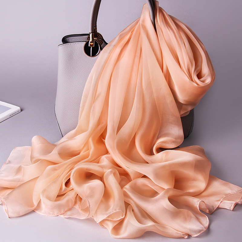 100% Real Silk Scarf Women Thin Chiffon Silk Shawls Wraps For Ladies Solid Neckerchief Hangzhou Natural Silk Scarf Foulard Femme
