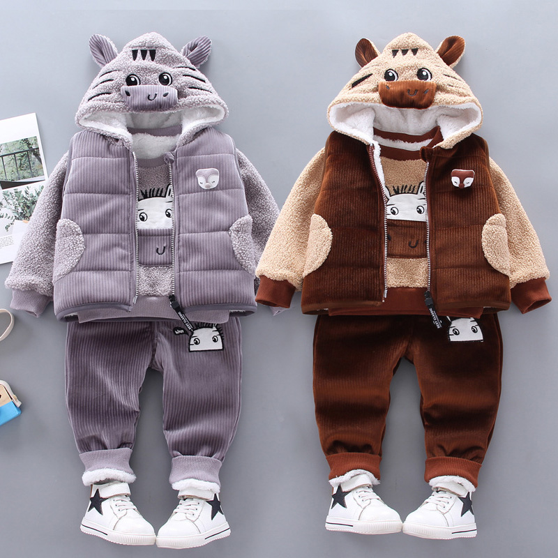 Children clothes winter baby boy clothes warm clothes baby girl cartoon plus velvet thick hooded sweater three-piece boy suit