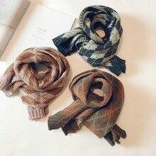 Корейские вязаные шерстяные Лоскутные мягкие теплые осенне-зимние плотные детские шали для мальчиков и девочек с геометрическим рисунком, шарфы, аксессуары-LHC