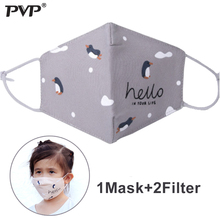 PVP 1Pcs Cotton PM2.5 Childrens Woman Anti Dust Cute Penguin Print Carbon Filter Windproof Masks+2Filter