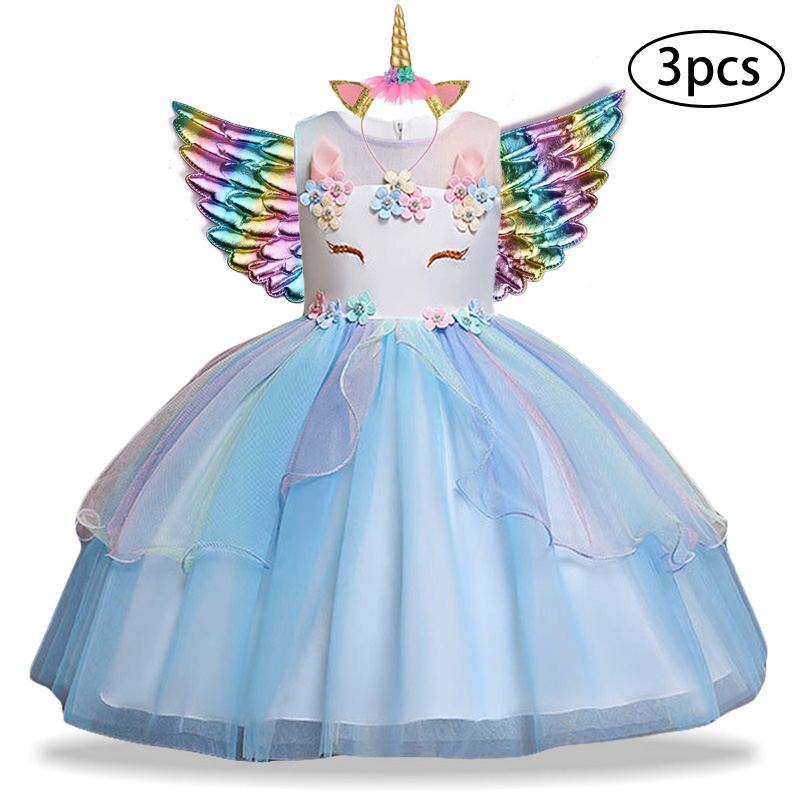 Ha5730e69655d4a02abd2d5878365e307O New Girls Dress 3Pcs Kids Dresses For Girl Unicorn Party Dress Christmas Carnival Costume Child Princess Dress 3 5 6 8 9 10 Year