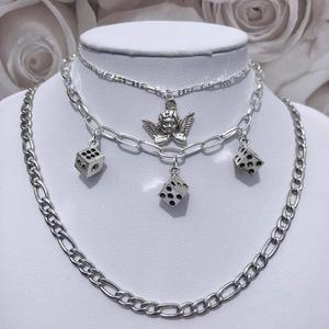 New ins Hip-pop Stainless Steel Metal Angel Pendant Necklace Dice Necklaces Chain Choker For Women Fashion Jewelry Gift