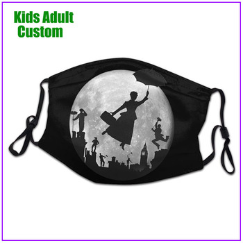 kids Men Women Full Moon Over London Rooftops Mary Poppins face mask reusable shield virus protection cloth custom designs cool