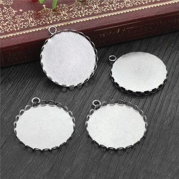 ( No Fade ) 10pcs 25mm Inner Size Stainless Steel Material Simple Style Cabochon Base Cameo Setting Charms Pendant Tray-T1-06