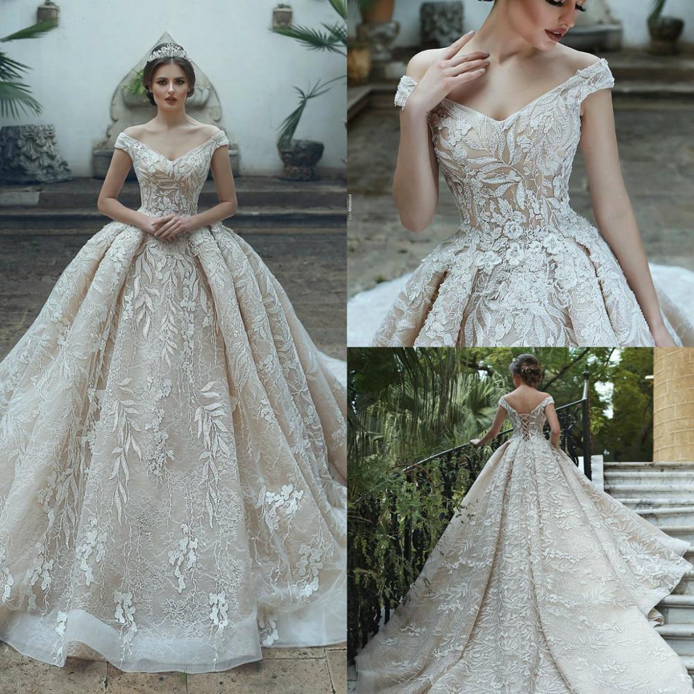 Vestido De Novia Arabic Luxury Wedding Dresses 2020 Elegant Off Shoulder Wedding Bridal Gowns Illusion Lace Appliqued Robe De Ma