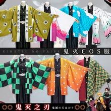 Demon Slayer Kimetsu Geen Yaiba Mens Kamado Tanjirou Cosplay Cape Kostuums Volledige Sets Agatsuma Zenitsu Orange Cape Suits Kostuums