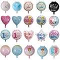 10 шт 18inch Детские праздничные шары круглой принцесса мальчик или девочка День рождения Декор Golobs детский 1St гелиевый воздушный шар покрытый ...