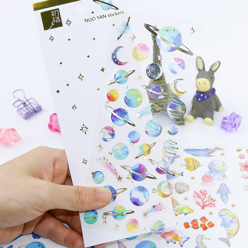 Coloffice Korean Cute Epoxy Crystal Stationery Sticker Bronzing Transparent Diary Handbook DIY Sticker Child Cartoon Sticker 1PC