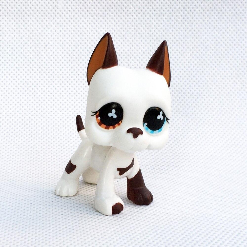 Rare Original Pet Shop Lps Toys Cream White Great Dane Dog #577 Yellow Blue Eyes Old Animal Figure Toys For Children