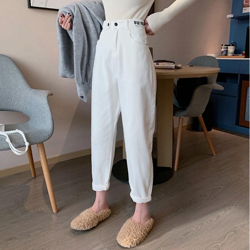 High Waist Jeans Wome Casual White Denim Pants New 2020 Fashion Korean Style Streetwear Ankle-length Harem Pants Woman P381