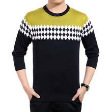Men Brand Sweater Winter New Style Men's Geometric Color Matching Leisure Round Neck Fit Sweater Fashion Men Sweaters