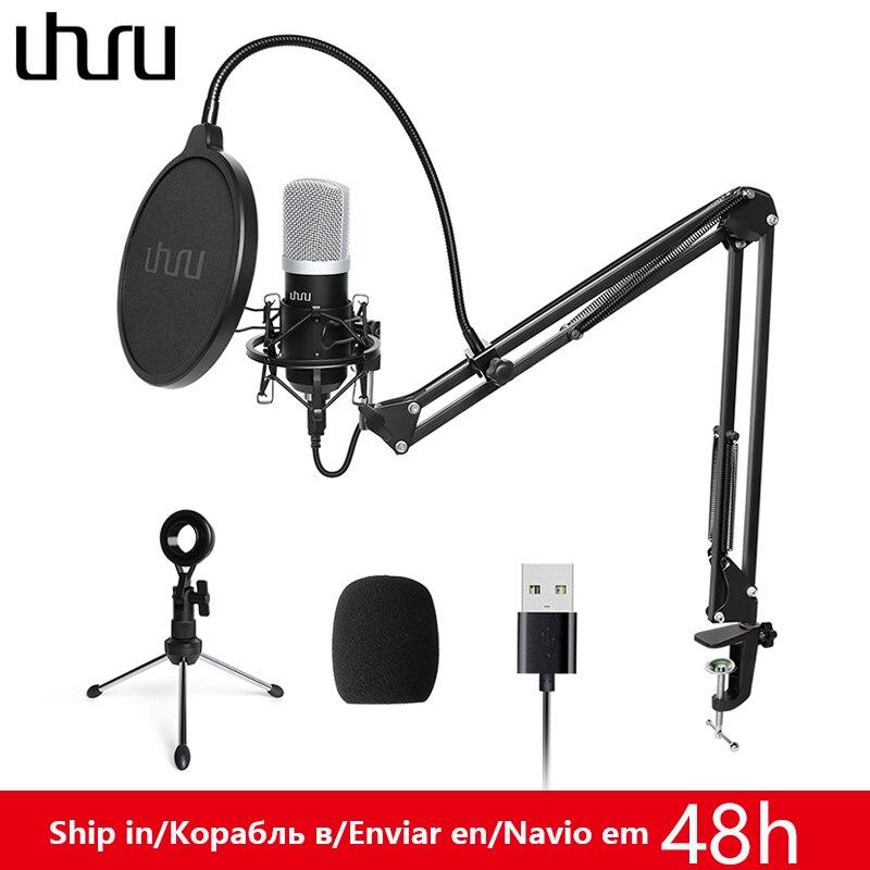 Kit de micrófono USB UHURU de 192kHz/24 bits, condensador profesional de Podcast Mikrofon con dos soportes de micrófono para Gaming ASMR de YouTube