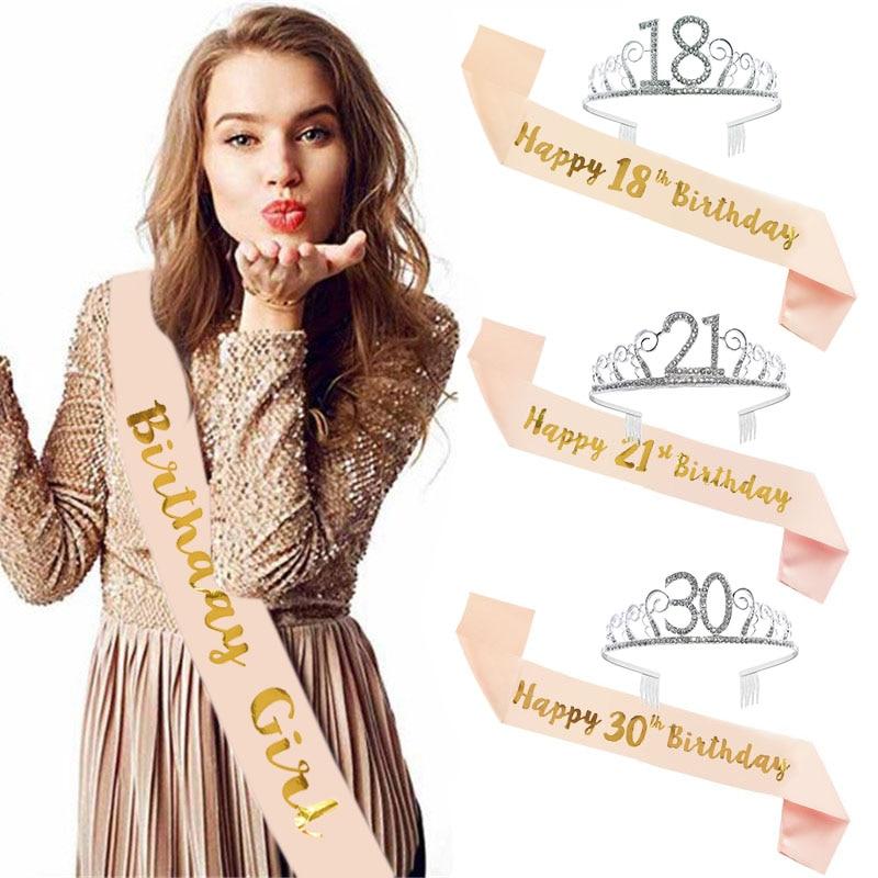 Décorations pour joyeux anniversaire | Couronne 30th 40th et 50e, ceinture en Satin, fournitures de fête danniversaire pour adultes 18 21 30 40 50