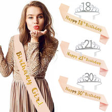 Couronne de joyeux anniversaire 30e 40e 50e avec ceinture en Satin, décorations de fête d'anniversaire pour adultes 18 21 30 40 50, fournitures de fête d'anniversaire