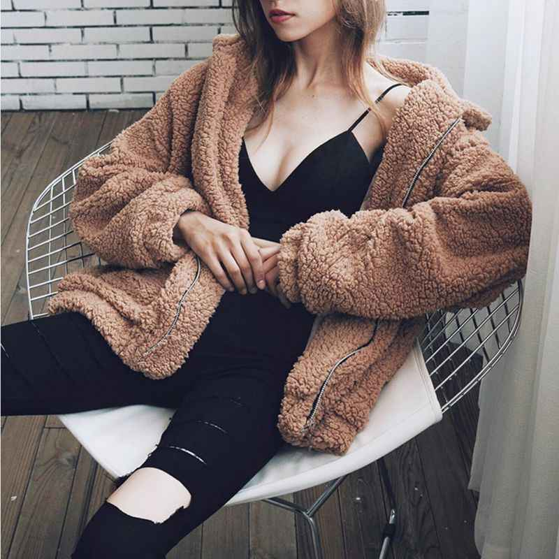 우아한 가짜 모피 코트 여성 2019 가을 겨울 따뜻한 소프트 지퍼 모피 자켓 여성 플러시 오버 코트 포켓 캐주얼 테디 아웃웨어 3XL