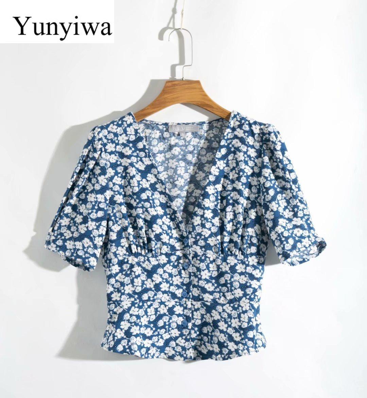 Женская приталенная рубашка с v-образным вырезом и коротким рукавом, винтажные рубашки, корейская модная одежда, Blusas Mujer De Moda
