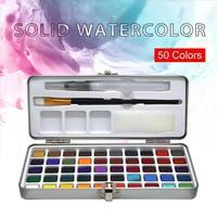 새로운 도착 50 색 투명 단색 수채화 물감 휴대용 수채화 안료 수채화 물감 종이 용품 그리기