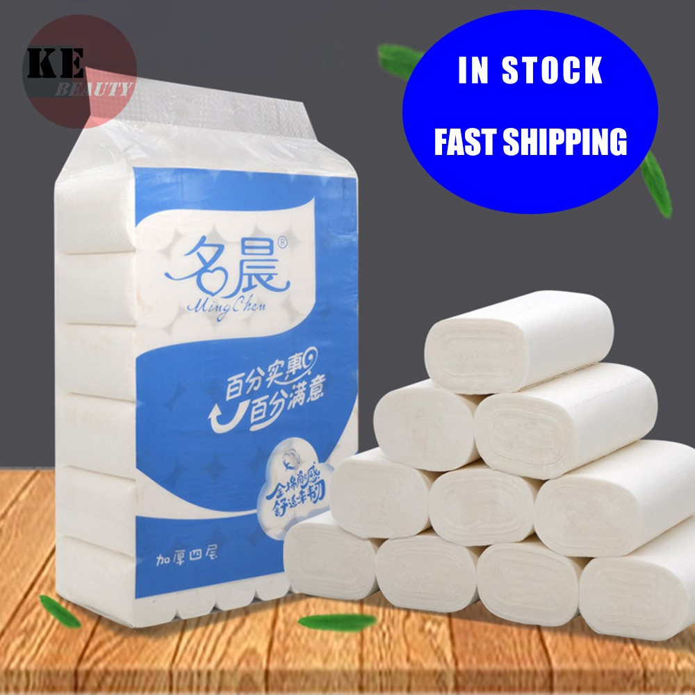 High Quality  Fast Shipping 10 Rolls Toilet Roll Paper 4 Layers Home Bath Toilet Roll Paper Primary Wood Pulp Toilet Paper