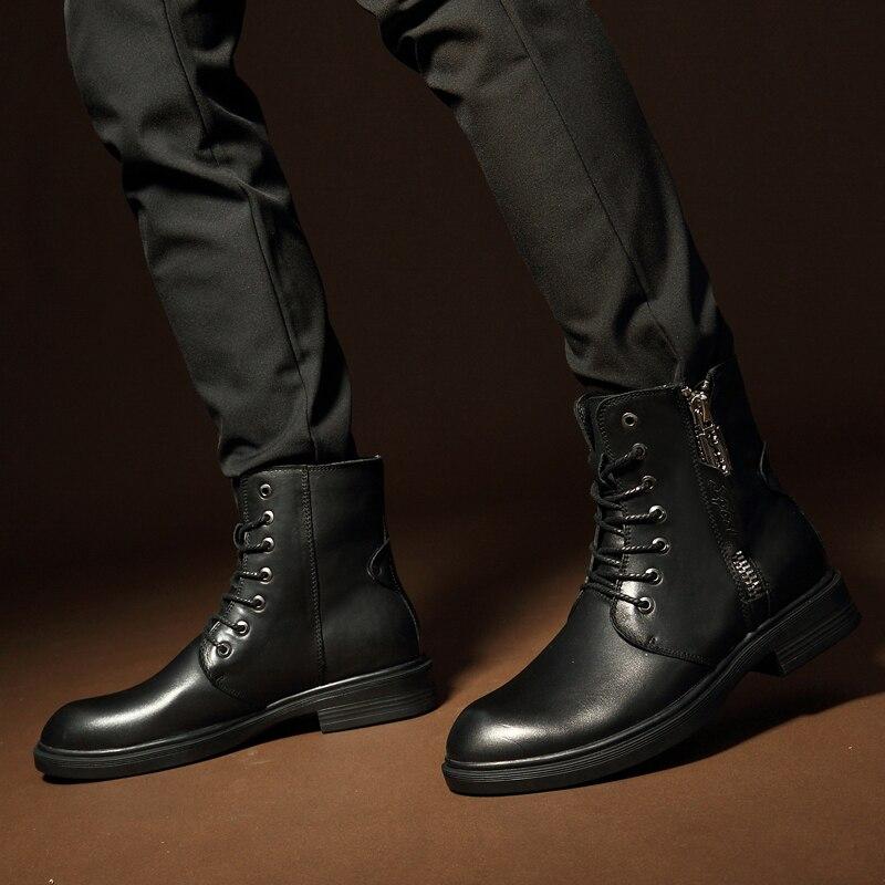 Мужские ботинки 2019 г. Новые Модные износостойкие зимние ботинки из искусственной кожи мужские рабочие ботинки зимние теплые ботинки 36 46*9918 - 6