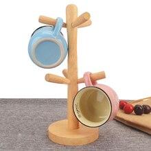 Jaswehome деревянный кухонный стеллаж для хранения, стеллаж для кружек, дерево, съемная подставка для кружек, органайзер для кофейной чашки чая, вешалка, держатель с 6 крючками