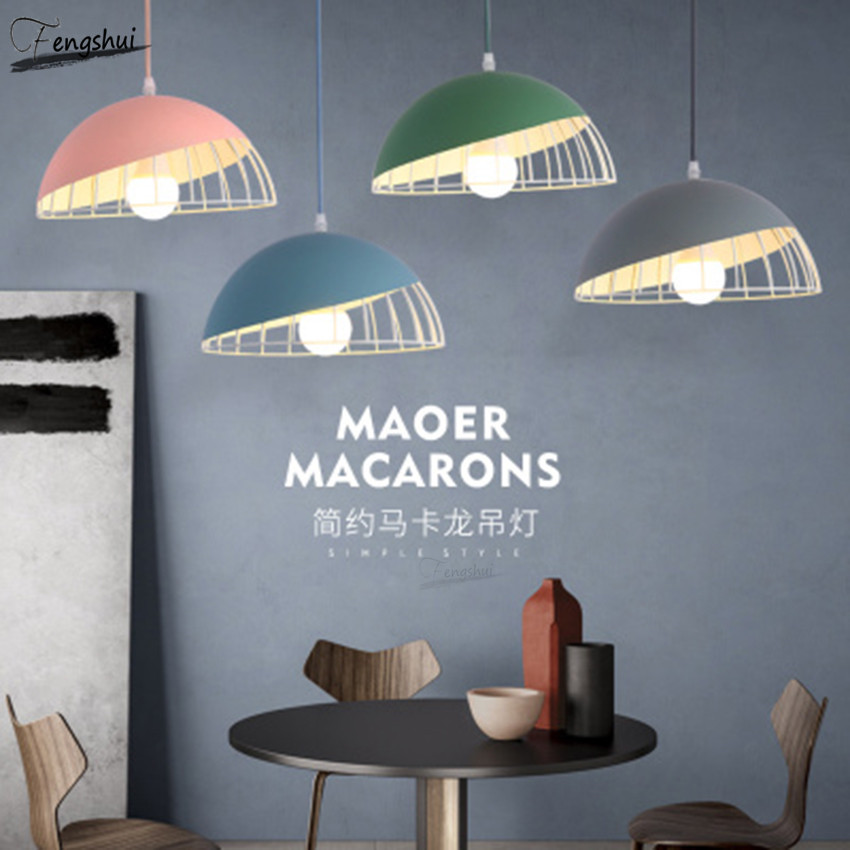 Nordic Personality LED Pendant Lights Single Head Small Hang Lamp Dining Room Bedroom Simple Macaron Bedside Bar Lamp Luminaria|Pendant Lights| |  - title=