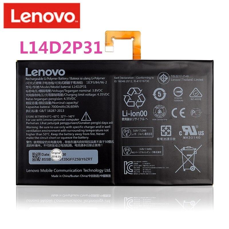 2019 оригинальный 7000 мА/ч, L14D2P31 для lenovo Tab 2 A7600-F A10-70F Tab2 A10-70 A10-70L Батарея l14d2p31