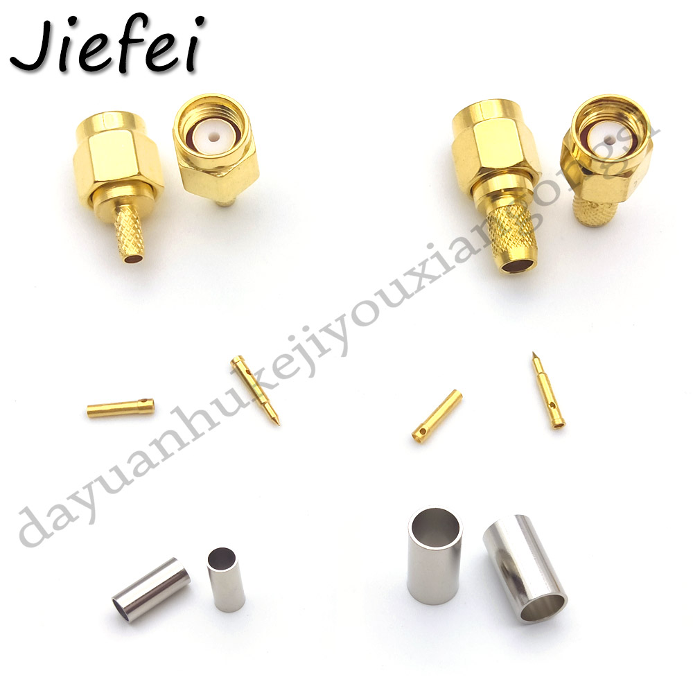 5/10 PCS RF Connector SMA Male Plug / RP-SMA Male  Jack Crimp ( RG58 LMR195 RG142 RG400 RG223 ) Or ( RG174 RG316 LMR100) Cable