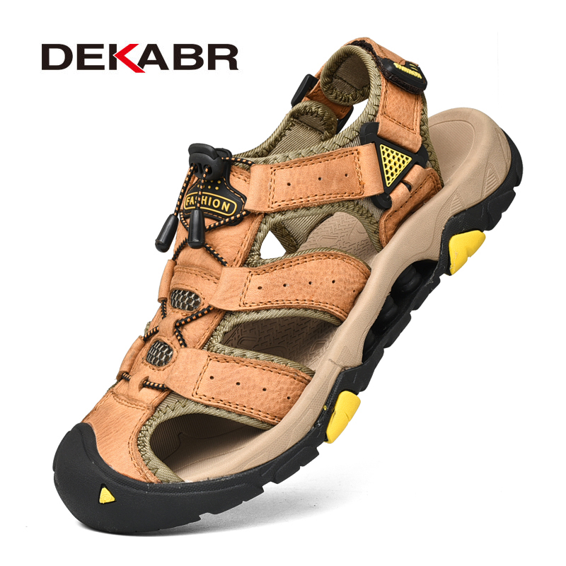 DEKABR New Men Summer Sandals Fashion Men Casual Shoes Genuine Leather Beach Shoes Outdoor Non-slip Men Sneakers Sandalias