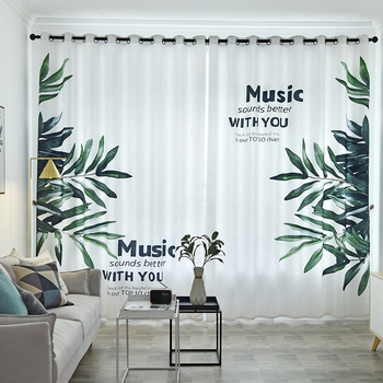 Customized Curtains for Living Room Nordic White Curtain with Green Leaves Printed Thick Drapes Healthy Blinds for Bedroom
