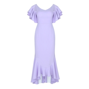 Image 5 - INDRESSME 2020 Spring New Women Sexy Mid Length Gown Backless V Neck Short Sleeve Ruffles Party Club Mermaid Dress Fashion Hot