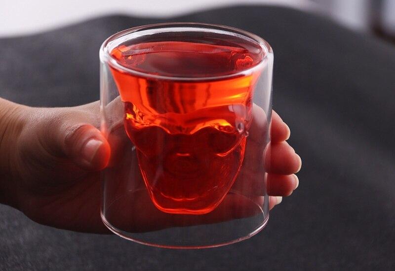 4 размера бренди двухслойный бокал для вина чашка пиратский череп голова прозрачная Хрустальная пивная кружка стопки для водки кофе Winebowl бар