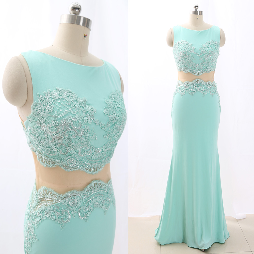 MACloth Turquoise Sheath O Neck Floor-Length Long Jersey   Prom     Dresses     Dress   M 266269 Clearance