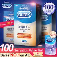 Condón Durex 4 tipos de condón Ultra fino para pene productos sexuales de goma Natural de látex para el sexo para hombres