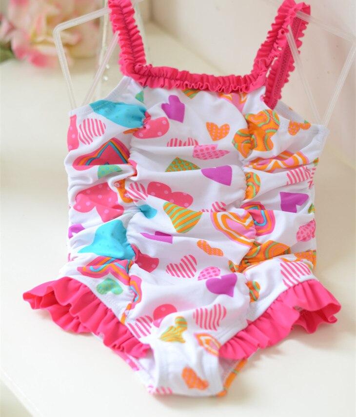Micro 2017 KID'S Swimwear Small Children Girls Pink Heart Wrinkled One-piece Swimwear