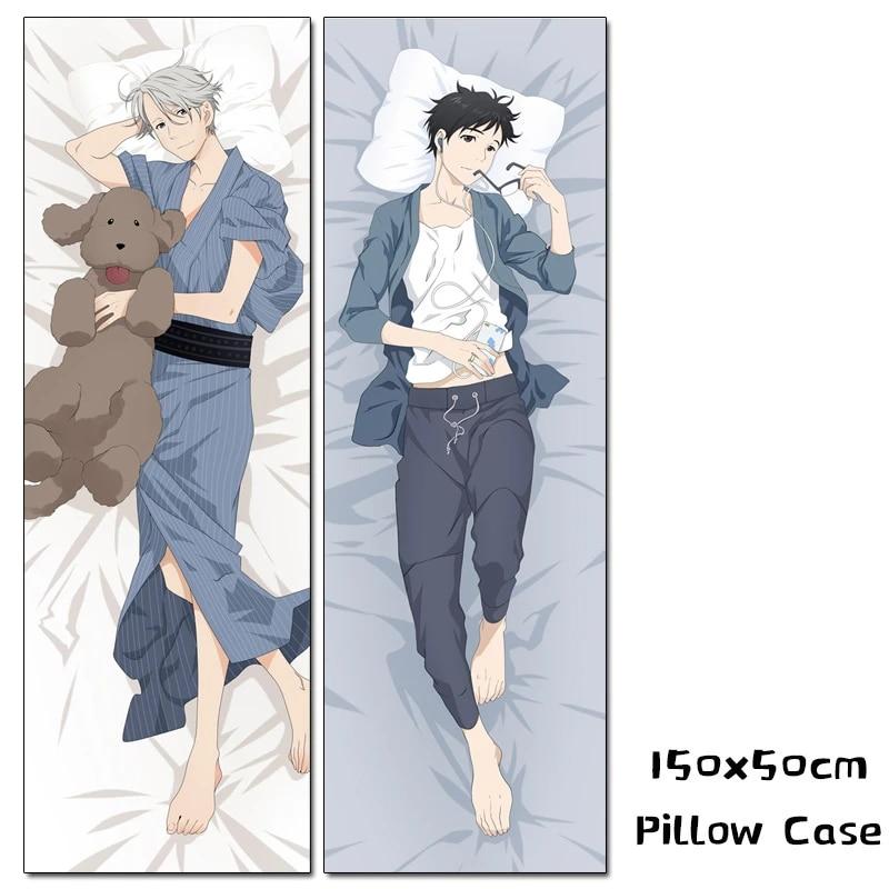 anime yuri on ice custom dakimakura yuri katsuki victor nikiforov hugging body pillow case 150cm cosplay costume pillow cover