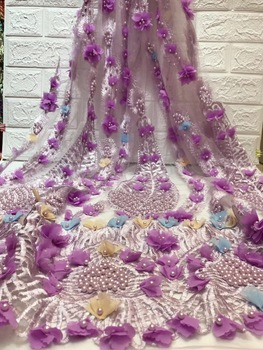 French 3D Big Flowers Lace Fabric African Beaded Lace Fabric High Quality 2019 Nigerian Net Laces Material For Dress Z28761