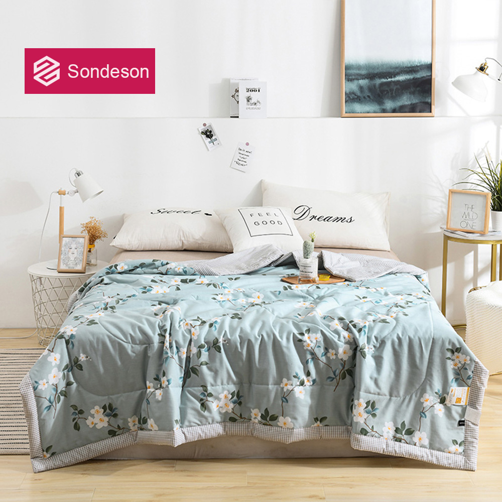 Sondeson Fashion 100% Cotton Flower Beauty Comforter Quilt Filling Cotton For Summer Winter Double Queen King Printed Bedding