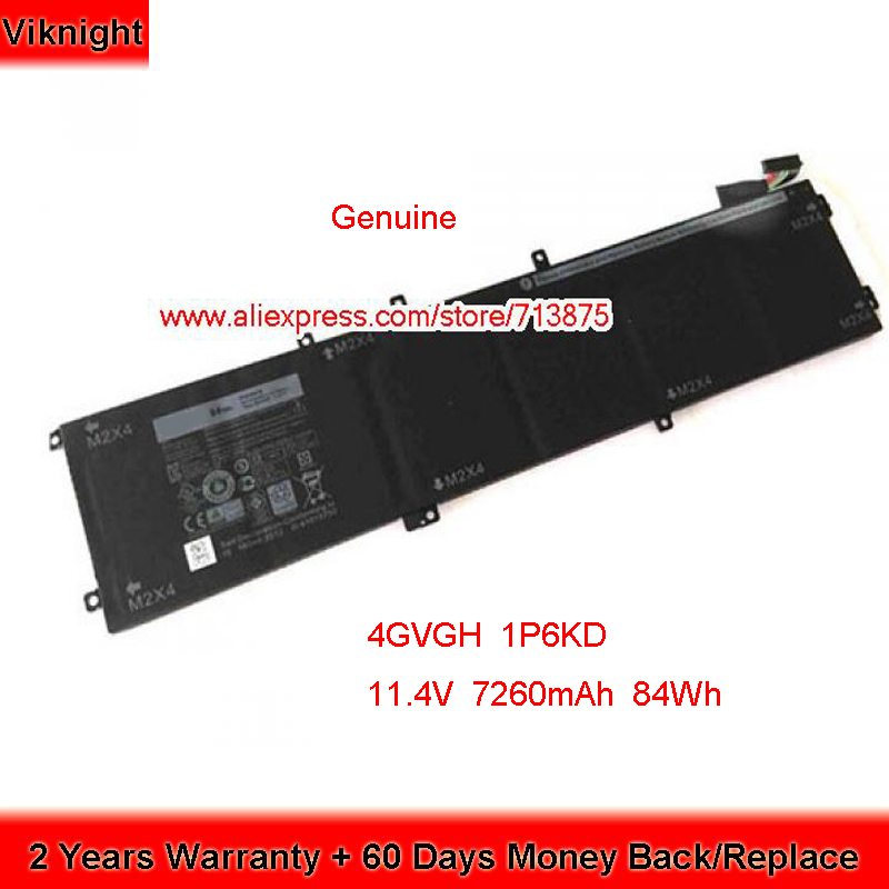 Genuine 11.4V 84Wh 4GVGH 1P6KD Battery for Dell XPS 15 9550 D1528 D1628 D1728 D1828 01P6KD 062MJV 0M7R96 T453X RRCGW P56F001 image