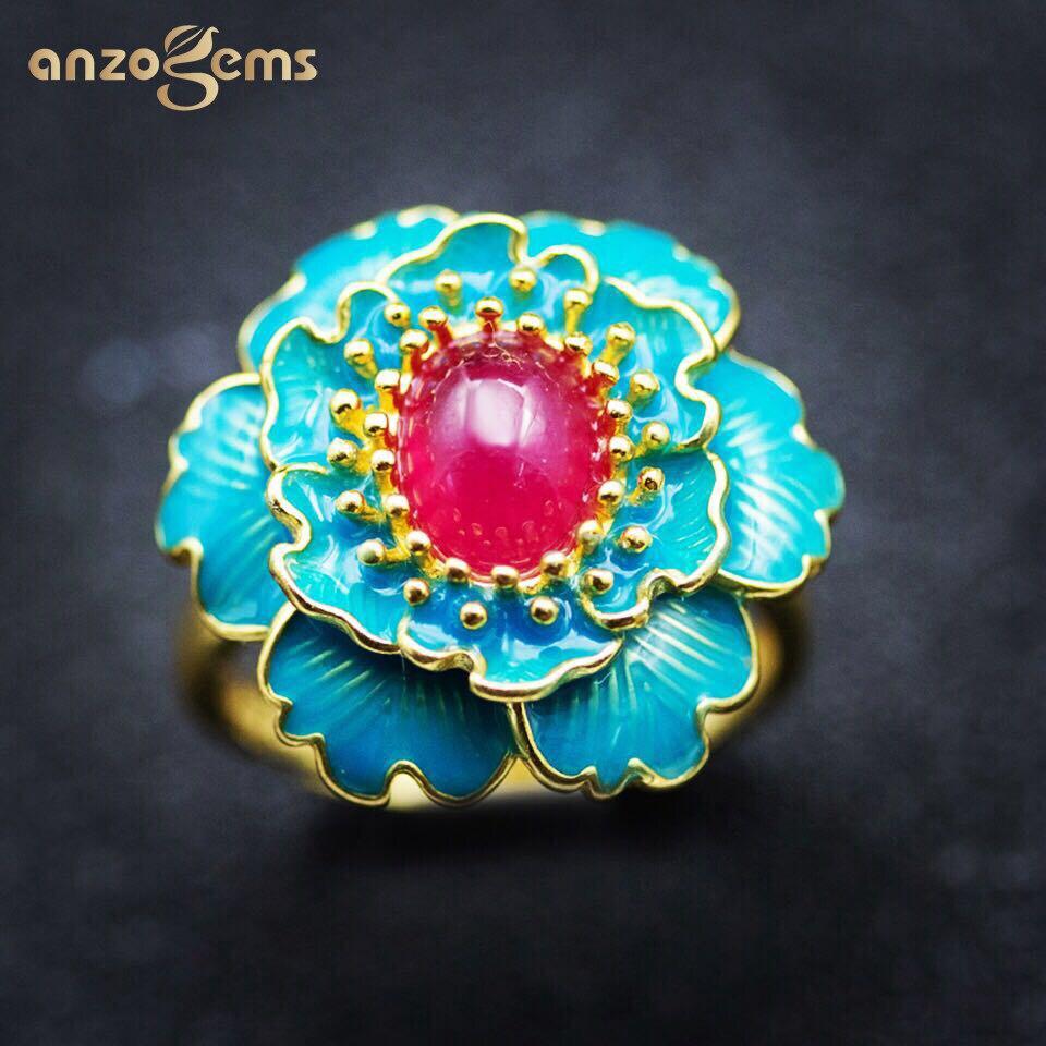 Anzogems africain naturel rubis fleur bague 925 en argent sterling 1.8ct pierres précieuses bijoux fins pour femmes magnifique bague 2020 nouveau