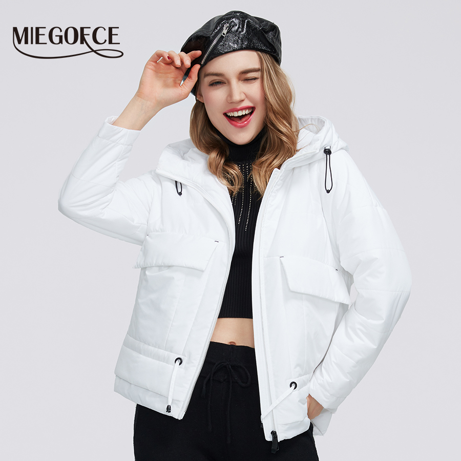MIEGOFCE 2020 Spring Collection Women's Cotton Short Jacket With A Hood Zipper Coat With Pockets Classic Women's Warm Jacket