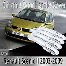 Adesivos de decoração para renault scenic ii, cromado, 2003 ~ 2009 2005 2007, reparo de pintura acessórios