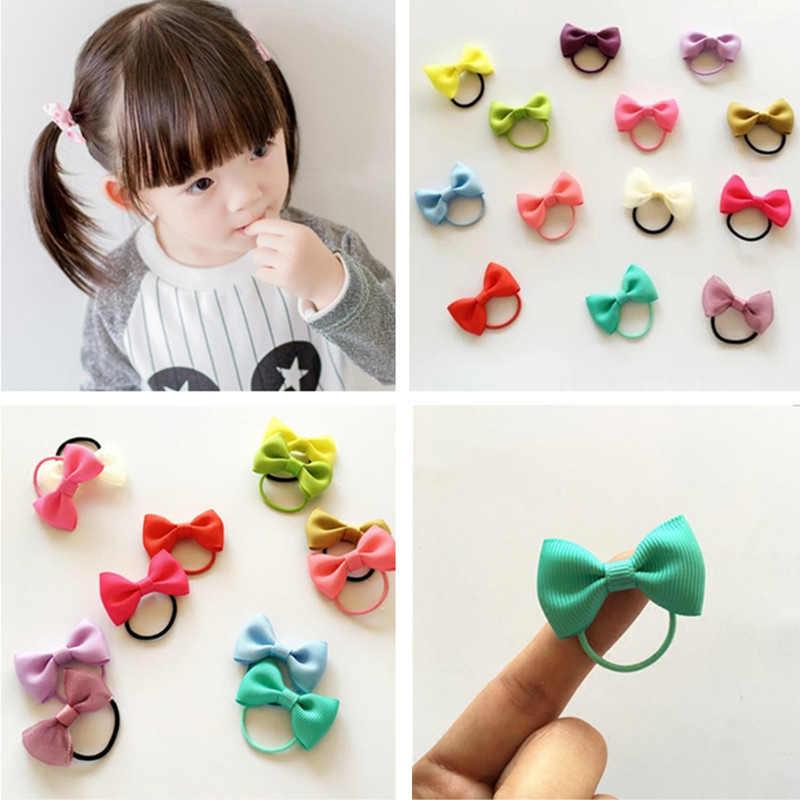 10 Stks/partij Kleurrijke Baby Meisje Elastische Haarbanden Lint Hair Bows Haarband Kinderen Haar Touw Haar Accessoires Hoofddeksels