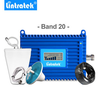 Lintratek 70dB Gain Signal Booster (Band 20) 4G LTE 800mhz Cell Phone Signal Amplifier Mobile Repeater 4G Antenna Full Kit -
