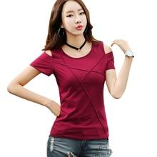 2021 summer Fashion plus size off shoulder tshirt short sleeve shirt women tops Solid color hole shirt casual blusas 3022