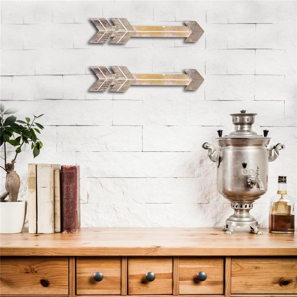 2//3//4Pcs Rustic Wooden Arrow Ornament Wall Hanging Home Bar Cafe Decor