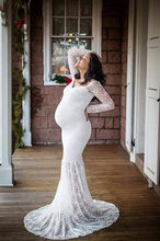 Lace Coat Maternity Dresses Photography Props Sexy Maternity Clothes Maxi Gown For Photo Shoots Women Pregnancy Dress S-3XL(China)