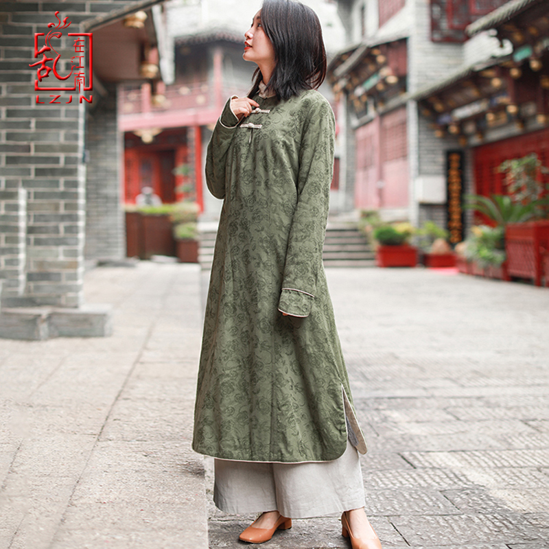 LZJN 2019 Autumn Winter Women Maxi Dress Elegant Cheongsam Cotton Linen Robe Vintage Qipao Thicken Warm Fleece Winter Dress