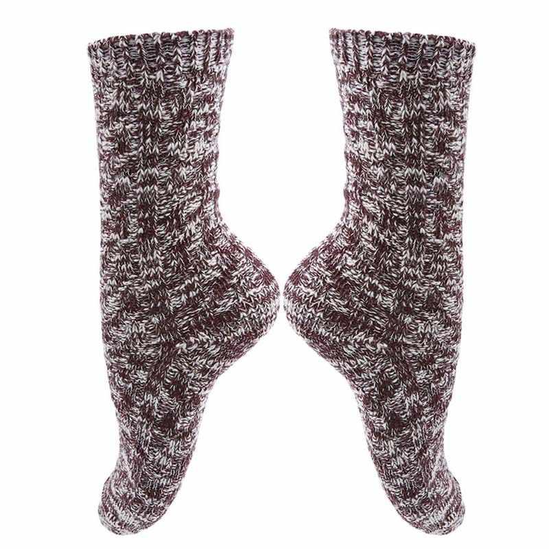AAutumn ฤดูหนาวผู้หญิงหิมะนุ่มถักผ้าขนสัตว์ถุงเท้า VINTAGE สุภาพสตรี WARM Thicken ถุงเท้า Basic SOX หญิงกีฬาถุงเท้า